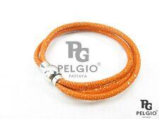 PELGIO Real Genuine Stingray Shagreen Skin Leather Cuff Magnetic Bracelet Orange