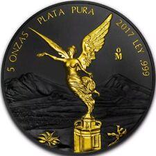 2017 MEXICAN LIBERTAD Ruthenium 5 Oz Silver Coin,24Kt Gold.
