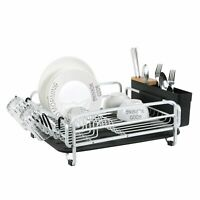 Aluminum Dish Drainer Drying Rack Large Storage Cutlery Holder Removable Tray
