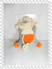 ☺ - Doudou Semi Plat Lion Gris Orange Beige Vert Reveil Pouet Picco Mini