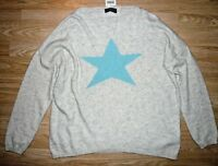 LUELLA cashmere jumper grey with turquoise star BNWT one size fits all