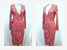 DIANE VON FURSTENBERG Vintage Wrap Dress Red and White Geometric Print Sz.XS/ S