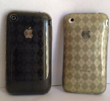 COQUE DE PROTECTION EN SILICONE SOUPLE A LOSANGES MARRON  IPHONE 3G/3GS + 1 FILM