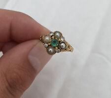 15ct Gold Georgian Emerald, Diamond & Natural Pearl Cluster Ring 15K.