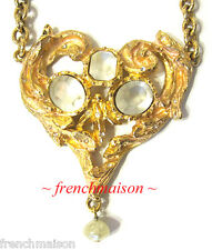 AUTHENTIC Christian Lacroix Gold Necklace Vintage Heart Crystal WORN PARIS MODEL