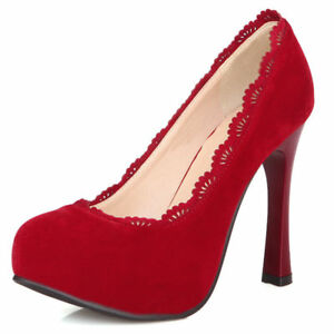 Women's Pumps Platform Faux Suede Chunky Heeled Wedding Ladies Shoes US 6 Red