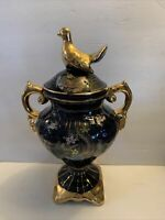 VTG Cobalt Blue & Gold Ceramic Urn Handled Vase Floral Pheasants, Peacocks 16""