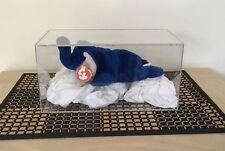TY Beanie Baby PEANUTS L'ELEFANTE BLU ROYAL 3rd GEN. Swing 1st Gen! Tush Nuovo di zecca