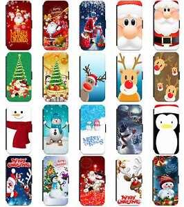 Santa Rudolph Snowman Christmas XMAS Flip Case Cover For Samsung A8 A10 A40 A70