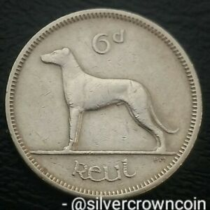 Ireland, Eire 6 Pence 1960. KM#13a. Sixpence coin. Wolfhound. Dog. Animals. 6P.