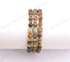 Wholesal8MM Natural Gemstone Round FACETED Beads Buddha Head Stretchy Bracelets