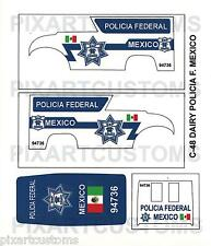 C48 FOR HOT WHEELS CUSTOM DAIRY DELIVERY MEXICO POLICE WATERSLIDE DECAL SET 1:64