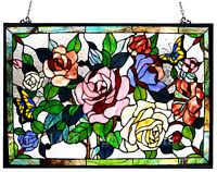 "Tiffany Style Stained Glass Window Panel 27"" x 19"" Butterfly & Roses Floral"