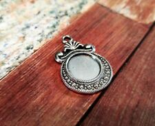 4 Cabochon Settings Frame Pendants Flat Back Setting Blanks Antiqued Silver