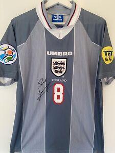 Paul Gascoigne (Gazza) signed Euro 96 Away Shirt - with COA