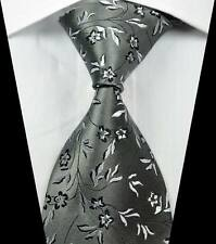 New Classic Florals Grey Black White JACQUARD WOVEN 100% Silk Men's Tie Necktie
