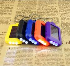 1pc Mini Solar Power Rechargeable 3LED Flashlight Keychain Light Lamp Torch