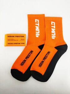 New Heron Preston HP Style CNTMB Black Orange Color Cotton Crew Socks NASA