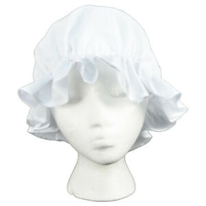 Colonial Amish Mob Cotton Hat Womens White Bonnet Poor Girl/Maid/Pilgrim Costume