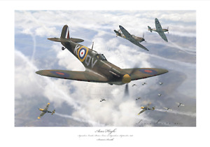 BATTLE OF BRITAIN ACE BRIAN LANE SPITFIRE MK1 LIMITED EDITION SIGNED PRINT