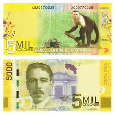 2009 Costa Rica Capuchin Monkey 5000 Colones Crisp Uncirculated Banknote