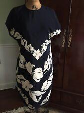 Ellen Tracy by Linda Allard Navy White 100% Silk Dress Size 12