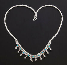 Native American Navajo Miniature Squash Blossom Necklace Silver with Turquoise