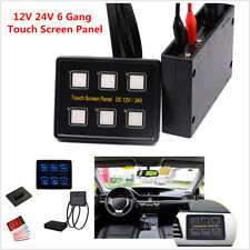 12V/24V 6 Gang LED Touch Screen Slim Switch Control Panel Auto Car Truck Caravan