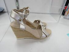 SPERRY NEW SILVER / GOLD METALLIC LEATHER WEDGE HEELS SHOES SZ 8 E100