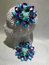 Pair monster glitter blue/purple Harajuku romany hair bows bobbles