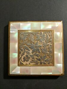 Vintage Agme Switzerland Powder Compact With Mirror Mother of pearls
