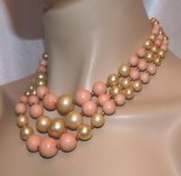 Vintage 1950's 3 Strand Pink And Off White Lucite Japan Bead Necklace