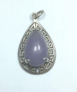 "925 Sterling Silver & Genuine Chalcedony Pear Shape Pendant Sz 1"" P54"