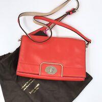 Kate Spade Hot Coral Foldover Crossbody Bag Orange Turnlock Soft Cow Leather