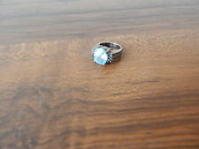 LADIES 925 STERLING RING WITH LARGE BLUE TOPAZ STONE/6 SAPPHIRES NICE INTNL SALE