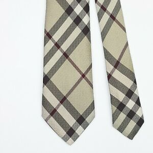 BURBERRY LONDON TIE Nova Check in Beige Skinny Woven Silk Necktie
