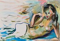 ORIGINAL Gemälde Öl Painting Female Naked nude nue Expressionism Aktzeichen Neu