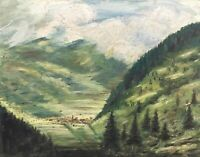Oil Painting German Landscape View IN A Valley With Kirchdorf Anonymous