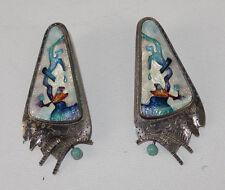 CR Dunetz Modernist Enamel Cloisenne Sterling Silver Post Earrings 1988 Signed