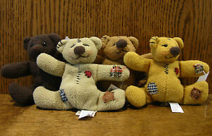 "Ganz Cottage #CC1371 Set of 4 TATTY BEARS by Lorraine Chien 4"" each head jointed"