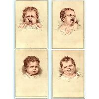c1880s Baby Head Litho Crying Emotion Series Stock Trade Card LOT of 4 Vtg C15