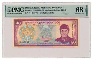 BHUTAN banknote 50 Ngultrum 2000 PMG MS 68 EPQ Superb Gem Uncirculated