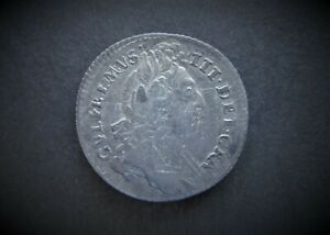 WILLIAM III SILVER SIXPENCE 1696  / SNIFF'S  ANCIENT COINS T-7