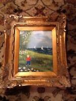 Appealing J. Polk Enamel On Copper Painting In A Gilt Frame Landscape Boats Lake