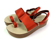 Tibi Shoes Womens 38 Bright Red Satin Strappy Wood Clog Slip On Sandal Unique
