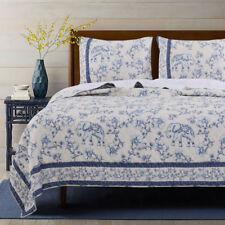 3pc SAFFI Queen Quilt Set Elephant Floral-Vine Nature Blue/White Global Bohemian