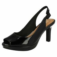Ladies Clarks Sling Back Buckle Sandals Mayra Blossom Black Patent Leather UK 6.5 E