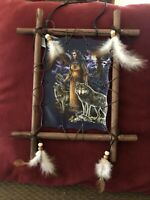 """Back To Earth Collection """"FRAMED INDIAN PICTURE W/WOLVES"""" 11""""x9"""""""