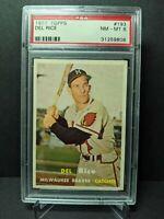 1957 Topps #193 Del Rice PSA 8 NM-MT Milwaukee Braves