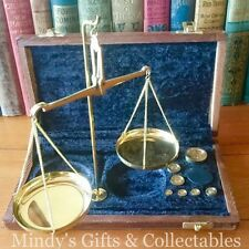 Vintage Antique Style Brass Apothecary Scales with Weights in Navy Velvet Case